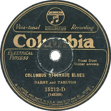 ... Original Recording Label Of Columbus Stockade Blues By Darby And Tarlton